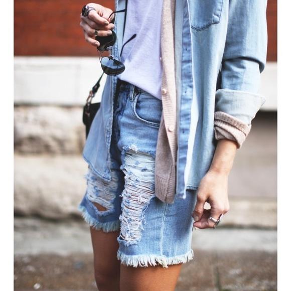 2b160a0de4353 Blank NYC Pants - BLANKNYC Boyfriend Shredded Denim Short